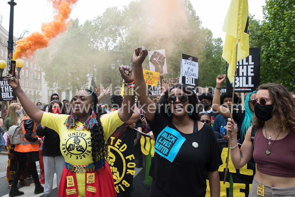 Marvina Newton (l) and Delia Mattis (r) of United for Black Lives take part in a Kill The Bill National Day of Action in protest against the Police, Crime, Sentencing and Courts (PCSC) Bill 2021 on 29th May 2021 in London, United Kingdom. The PCSC Bill would grant the police a range of new discretionary powers to shut down protests, including the ability to impose conditions on any protest deemed to be disruptive to the local community, wider stop and search powers and sentences of up to 10 years in prison for damaging memorials.