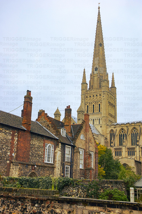 The back streets of Norwich in Norfolk with the cathedral spire