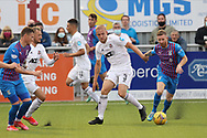 Cove Rangers' Broque Watson (7) and Inverness Caledonian Thistle's Michael Gardyne (7) battles for possession, tussles, tackles, challenges, during the Premier Sports Scottish League Cup match between Cove Rangers and Inverness CT at Balmoral Stadium, Aberdeen, Scotland on 20 July 2021.