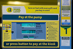 © Licensed to London News Pictures . 03/01/2013 . Oldham , UK . Petrol pump showing 135.9 pence per litre for diesel . Supermarket chain Morrisons , in Chadderton Greater Manchester , selling diesel for 135.9 pence per litre and unleaded for 128.9 pence per litre . Photo credit : Joel Goodman/LNP