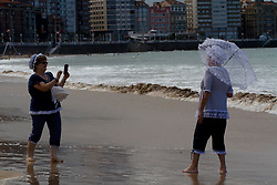September 4, 2017 - Gijon, Spain - Women's wave baths on Gijon beach their swimsuits are inspired by the XIX years. (Credit Image: © Mercedes Menendez/Pacific Press via ZUMA Wire)