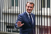 French President Emanuel Macron arrived in 10 Downing Street to meet with British Prime Minister Boris Johnson, on Thursday, June 18, 2020.  For his first foreign trip since lockdown, Emmanuel Macron will be in London to mark the 80th anniversary of de Gaulle's « appel de Londres », as well as cement Franco-UK ties at a strained time due to Brexit. A joint French and British jet flypast is announced to be performed at 5pm. <br /> British authorities unboxed the Winston Churchill statue in Parliament Square in central London on Thursday, June 18, 2020, prior to a visit of the French President Emmanuel Macron to London. (Photo/ Vudi Xhymshiti)