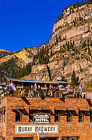 Rooftop bar, Ouray Brewery, Ouray, Colorado USA.