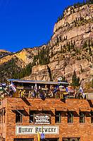 Rooftop bar, Ouray Brewery, Ouray, Colorado USA.