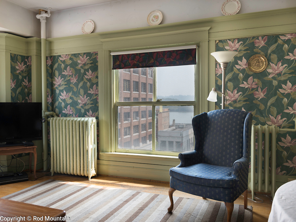 New Westminster, BC, Canada - August 10, 2017 - The interior of an old hotel taken on a summer afternoon.<br /> <br /> Photo: © Rod Mountain<br /> <br /> http://www.rodmountain.com<br /> <br /> @rod_mountain