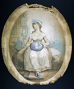 Pillow Lace Maker. Mezzotint by WN Gardner (1766-1814) after painting by Ann Jonnet Evans.  Idealised picture of Bedfordshire lacemaker working at her cottage door.  The pattern to be worked would be pricked out on strip of parchment.
