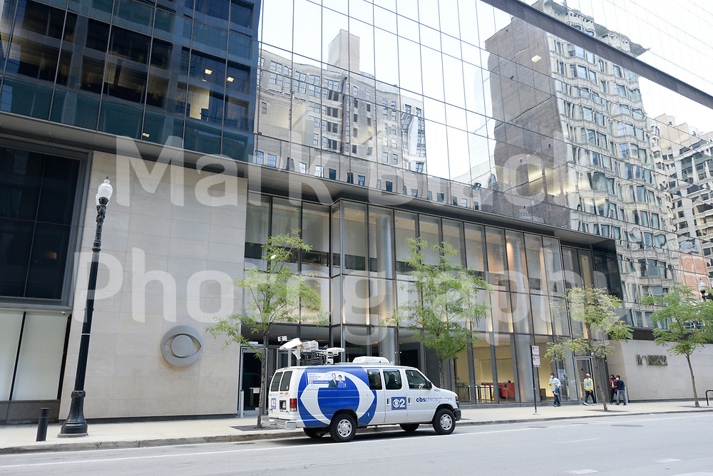 CBS 2 Chicago TV news van and building in Chicago, Illinois. Photo by Mark Black