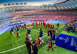 June 2, 2019 - Madrid, Spain - 190602 Players of Liverpool and of Tottenham enters the pitch ahead of the UEFA Champions League final between Tottenham and Liverpool on June 2, 2019 in Madrid..Photo: Petter Arvidson / BILDBYRÃ…N / kod PA / 92302 (Credit Image: © Petter Arvidson/Bildbyran via ZUMA Press)