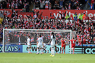 Southampton 's Rickie Lambert celebrates after he scores his sides  1st goal in the final minute.  Barclays Premier league match, Swansea city v Southampton at the Liberty stadium in Swansea, South Wales on Saturday 3rd May 2014.<br /> pic by Andrew Orchard, Andrew Orchard sports photography.