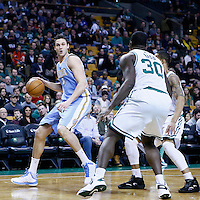 10 February 2013: Denver Nuggets small forward Danilo Gallinari (8) drives past Boston Celtics shooting guard Courtney Lee (11) during the Boston Celtics 118-114 3OT victory over the Denver Nuggets at the TD Garden, Boston, Massachusetts, USA.