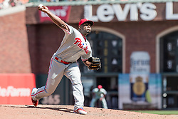 June 3, 2018 - San Francisco, CA, U.S. - SAN FRANCISCO, CA - JUNE 03: Philadelphia Phillies Pitcher Hector Neris (50) pitches in relief during the MLB game between the Philadelphia Phillies and San Francisco Giants on June 3, 2018, at AT&T Park in San Francisco, CA. (Photo by Bob Kupbens/Icon Sportswire) (Credit Image: © Bob Kupbens/Icon SMI via ZUMA Press)
