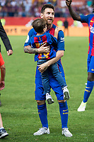 FC Barcelona's Leo Messi with his son after Copa del Rey (King's Cup) Final between Deportivo Alaves and FC Barcelona at Vicente Calderon Stadium in Madrid, May 27, 2017. Spain.<br /> (ALTERPHOTOS/BorjaB.Hojas)