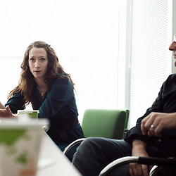 NEW YORK, NY - JUNE 14, 2010: New York Time's Meaghan Looram (Photo editor) and Todd Heisler (Photographer) are.behind the 1 in 8 millions project that ran on the web in 2009. Shot at the New York Time Building in New York, NY, USA. 14 June 2010. (Photo by Antoine Doyen)