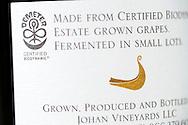 Johan Vineyards Demeter Certified Biodynamic, Willamette Valley, Oregon, USA