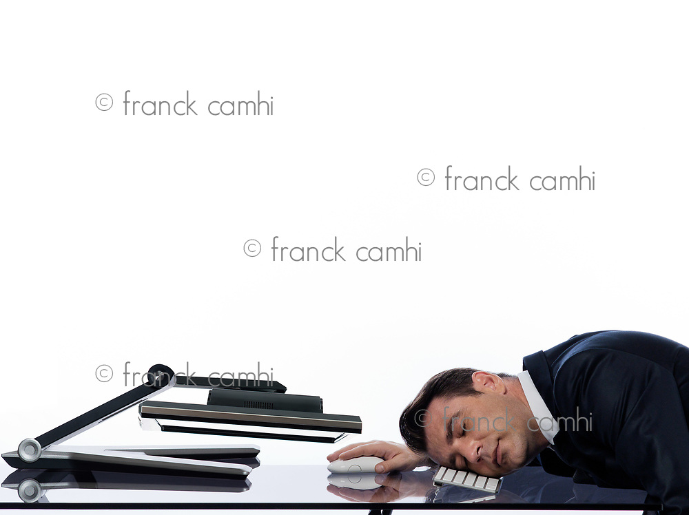 relationship between a caucasian man and a computer display monitor on isolated white background expressing sleep tired concept