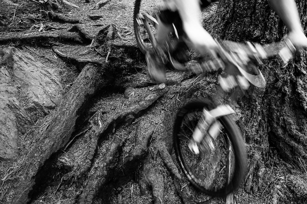 Owen Dudley rides the rooted, rutted, super technical rocks of a trail near Bellingham Washington.
