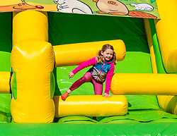 Pictured: Niamh at the Labyrinth Inflatable Course. Dalkeith Country Park, Midlothian, 04 May 2019. The Labyrinth Challenge is the World's longest, continuous, widest inflatable obstacle course with a series of interactive and wacky obstacles with five  themed zone, and measures over 1000ft in length.<br /> Sally Anderson | EdinburghElitemedia.co.uk
