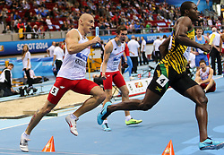 08.03.2014, Ergo Arena, Sopot, POL, IAAF, Leichtathletik Indoor WM, Sopot 2014, im Bild 4x400 m, Jermaine Brown (JAM), Jakub Krzewina (POL) // 4x400 m, Jermaine Brown (JAM), Jakub Krzewina (POL)  during day two of IAAF World Indoor Championships Sopot 2014 at the Ergo Arena in Sopot, Poland on 2014/03/08. EXPA Pictures © 2014, PhotoCredit: EXPA/ Newspix/ Tomasz Jastrzebowski<br /> <br /> *****ATTENTION - for AUT, SLO, CRO, SRB, BIH, MAZ, TUR, SUI, SWE only*****