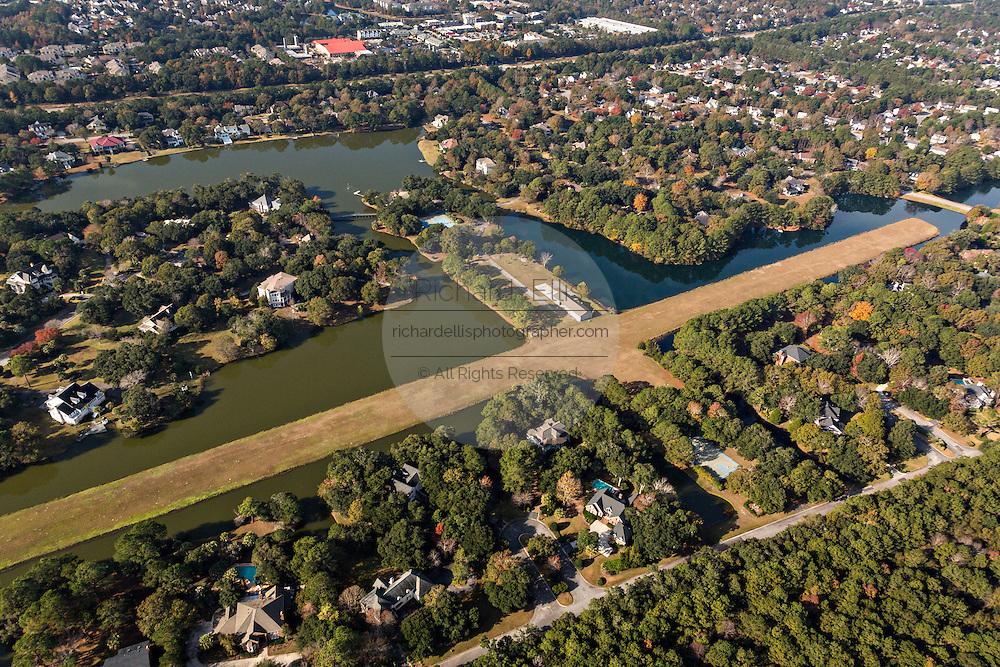Aerial view of private airstrip at Ravens Run development, Mt Pleasant, SC.