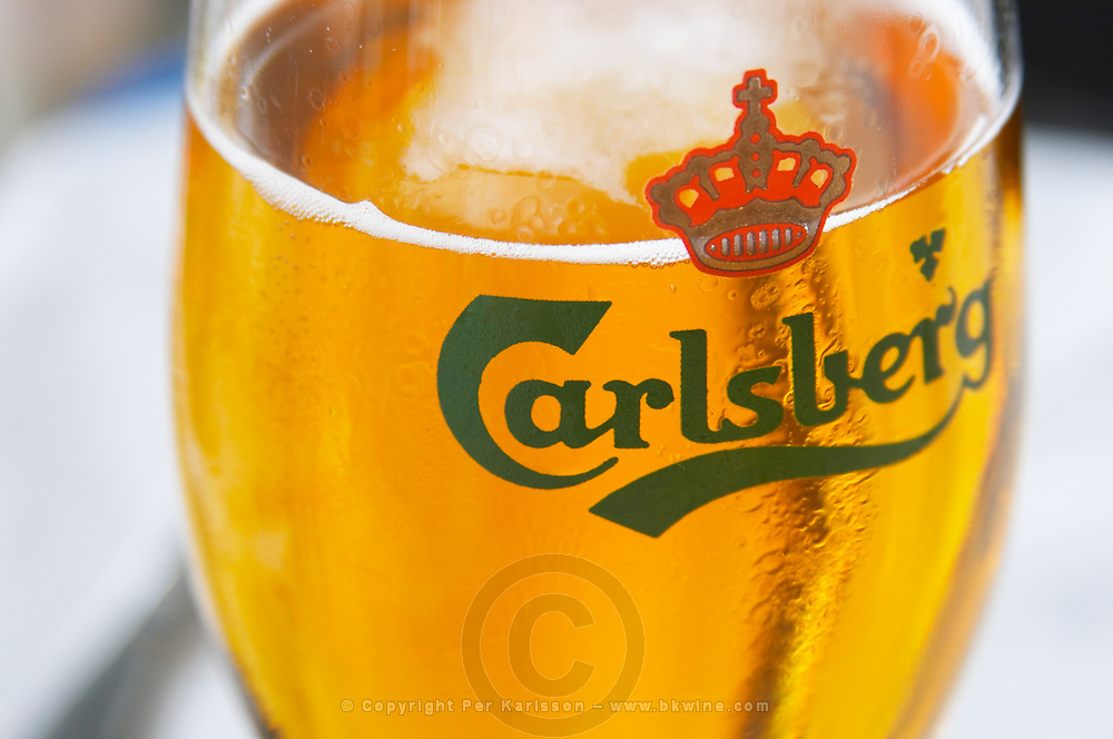 A glass of refreshingly cold Carlsberg beer. Sweden, Europe.