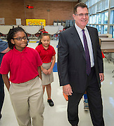 Houston ISD Superintendent Dr. Terry Grier tours with students during the first day of school at Shearn Elementary School, August 25, 2014.