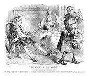 """Finance a la Mode!"" (After Hogarth - a very long way.) ""It will scarecely be possible to go on carrying forward liabilities in this indefinate way."" - Times, Oct. 1st 1879"