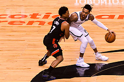February 11, 2019 - Toronto, Ontario, Canada - Kyle Lowry #7 of the Toronto Raptors blocks D'Angelo Russell #1 of the Brooklyn Nets during the Toronto Raptors vs Brooklyn Nets NBA regular season game at Scotiabank Arena on February 11, 2019, in Toronto, Canada (Toronto Raptors win 127-125) (Credit Image: © Anatoliy Cherkasov/NurPhoto via ZUMA Press)