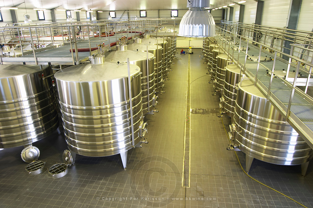 The brand new winery (cuverie) with stainless steel fermentation tanks, view from above - Chateau Belgrave, Haut-Medoc, Grand Crus Classe 1855