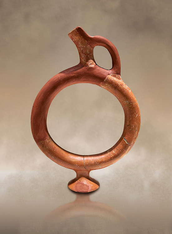 Hittite terra cotta ring shaped vessel - 16th century BC - Hattusa ( Bogazkoy ) - Museum of Anatolian Civilisations, Ankara, Turkey..<br /> <br /> If you prefer to buy from our ALAMY STOCK LIBRARY page at https://www.alamy.com/portfolio/paul-williams-funkystock/hittite-art-antiquities.html  - Type Hattusa into the LOWER SEARCH WITHIN GALLERY box. Refine search by adding background colour, place, museum etc<br /> <br /> Visit our HITTITE PHOTO COLLECTIONS for more photos to download or buy as wall art prints https://funkystock.photoshelter.com/gallery-collection/The-Hittites-Art-Artefacts-Antiquities-Historic-Sites-Pictures-Images-of/C0000NUBSMhSc3Oo