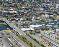 Tacoma industrial area at East D Street and the East 21st Street Bridge, with the University of Washington Tacoma campus in the background.
