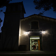 As the neighborhood settles down for the night, the local boxers keep the pace up at the former church that now hosts the La Habra Boxing Club.  Sports Shooter Academy XI:  La Habra Boxing Club on November 06, 2014 at La Habra in La Habra CA, USA.  Photo credit: Jason Tanaka