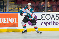 KELOWNA, BC - FEBRUARY 15:  Cayde Augustine #5 of the Kelowna Rockets passes the puck against the Everett Silvertipsat Prospera Place on February 15, 2019 in Kelowna, Canada. (Photo by Marissa Baecker/Getty Images)