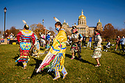07 NOVEMBER 2020 - DES MOINES, IOWA: People from the Meskwaki community, a Native American community in eastern Iowa, perform at a Democracy Rising Indigenous Rights rally near the Iowa State Capitol. People marched from Voters Decide rally downtown to the Democracy Rising rally. There were rival election rallies at the State Capitol in Des Moines Saturday. About 1,000 supporters of President Donald Trump gathered on the steps of the State Capitol and called for an end to vote counting. About 300 supporters of President Elect Joe Biden gathered in People's Plaza, on the south lawn of the Capitol, and called for the vote count to continue until every vote was counted.     PHOTO BY JACK KURTZ
