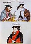 16th century Illustrators at work sketching a flower for Leonhart Fuchs books of herbs De Historia Stirpium Commentarii Insignes Published in Basel in 1542 Heinrich Füllmauer, Albrecht Meyer, and Veit Rudolf Speckle