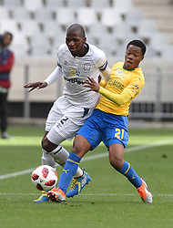 Cape Town-180825- Cape Town City player Thami Mkhize challenged by  Mamelodi Sundowns midfielder Sphelele  Mkhulise  in the MTN 8 semi-final at Cape Town Stadum.Photographer :Phando Jikelo/African News Agency/ANA