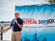 08 AUGUST 2019 - DES MOINES, IOWA: Former Vice President JOE BIDEN speaks at the Des Moines Register Political Soapbox at the Iowa State Fair. Vice President Biden spoke at the Des Moines Register Political Soapbox at the Iowa State Fair Thursday. Biden is running to be the Democratic nominee for President in 2020. Iowa holds the first selection event of the 2020 election cycle. The Iowa Caucuses are on February 3, 2020.           PHOTO BY JACK KURTZ