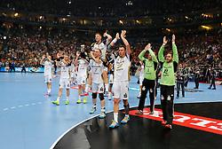 31.05.2014, Lanxess Arena, Koeln, GER, EHF CL, MKB MVM Veszprem vs THW Kiel, Halbfinale, im Bild Kieler Jubel nach dem Abpfiff mit vr: Torwart Andreas Palicka (THW Kiel #12), Torwart Johan Sjoestrand (THW Kiel #1), Filip Jicha (THW Kiel #39), Rene Toft Hansen (THW Kiel #7), Niclas Ekberg (THW Kiel #18 - auf den Schultern), Patrick Wiencek (THW Kiel #17) und Gudjon Valur Sigurdsson (THW Kiel #9) // during the EHF Champions League semifinal match between MKB-MVM Veszprem and THW Kiel at the Lanxess Arena in Koeln, Germany on 2014/05/31. EXPA Pictures © 2014, PhotoCredit: EXPA/ Eibner-Pressefoto/ Schueler<br /> <br /> *****ATTENTION - OUT of GER*****
