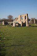 Ruins of Greyfriars monastery, Dunwich, Suffolk, East Anglia, England. Dunwich was at one time one of the largest and most important towns in England. Little now remains because most of the town has been washed away by the sea.