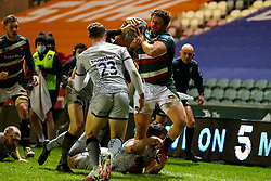 Argentina international Julián Montoya on debut for Leicester Tigers, is bundled into touch - Mandatory by-line: Nick Browning/JMP - 29/01/2021 - RUGBY - Mattioli Woods Welford Road - Leicester, England - Leicester Tigers v Sale Sharks - Gallagher Premiership Rugby