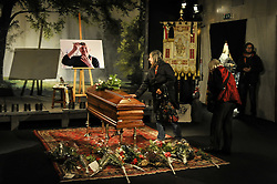October 14, 2016 - Milan, Italy - People To Pay Respect  on Dario Fo coffin.Dario Fo, the Italian playwright, director and performer whose satirical work earned him both praise and condemnation, as well as the 1997 Nobel Prize in Literature, died on Thursday in Milan. His death was confirmed by his Italian publisher, Chiarelettere. (Credit Image: © Gaetano Piazolla/Pacific Press via ZUMA Wire)