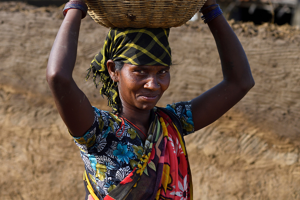 Village woman, working with housebuilding, Kanha National Park and Tiger Reserve, Madhya Pradesh, India