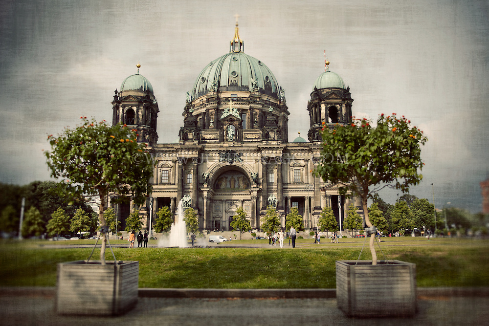 Landscape and trees outside of the Berlin Cathedral in Berlin Germany.