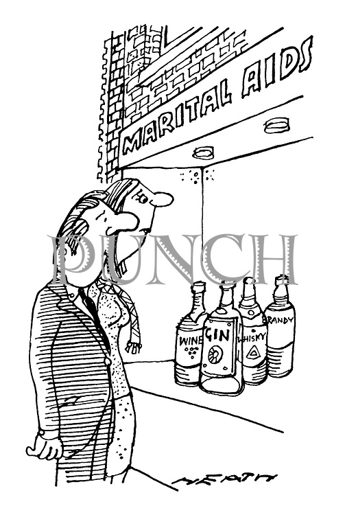 (A couple are looking in the window of a shop called 'Marital Aids'. The window display consists of bottles of alcohol)