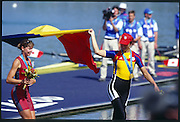 Sydney. AUSTRALIA. 2000 Summer Olympic Regatta, Penrith. NSW.  <br /> <br /> ROM W8+.  Bow. ANDRUNACHE, Georgeta, 2. SUSANU, Viorica, 3. OLTEANU, Ioana, 4. COCHELA-COGEANU, Veronica, 5. LIPA-OLENIUC, Elisabeta, 6. GAFENCU, Liliana , 7, ANDRUNACHE,   Georgeta, stroke,. IGNAT, DoinaCox, GEORGESCU-NEDELC, Elena<br /> <br /> [Mandatory Credit Peter SPURRIER/ Intersport Images] Sydney International Regatta Centre (SIRC) 2000 Olympic Rowing Regatta00085138.tif