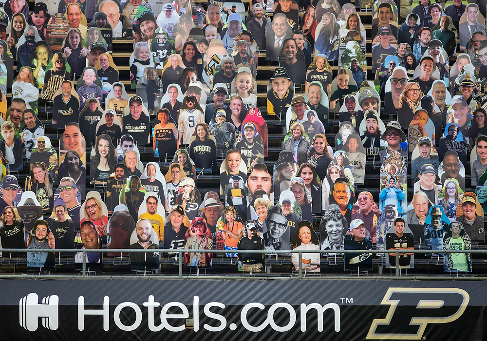 November 14, 2020:  Cardboard cutouts in the Purdue student section during NCAA football game action between the Northwestern Wildcats and the Purdue Boilermakers at Ross-Ade Stadium in West Lafayette, Indiana. Northwestern defeated Purdue 27-20.  John Mersits/CSM.