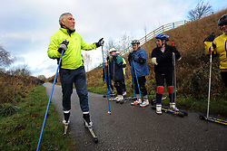 Yorkshire Dales Cross Country Ski Club rollerskis along the former Railway line, Bradford, one solution to the problem of global warming and lack of snow in the Alps.