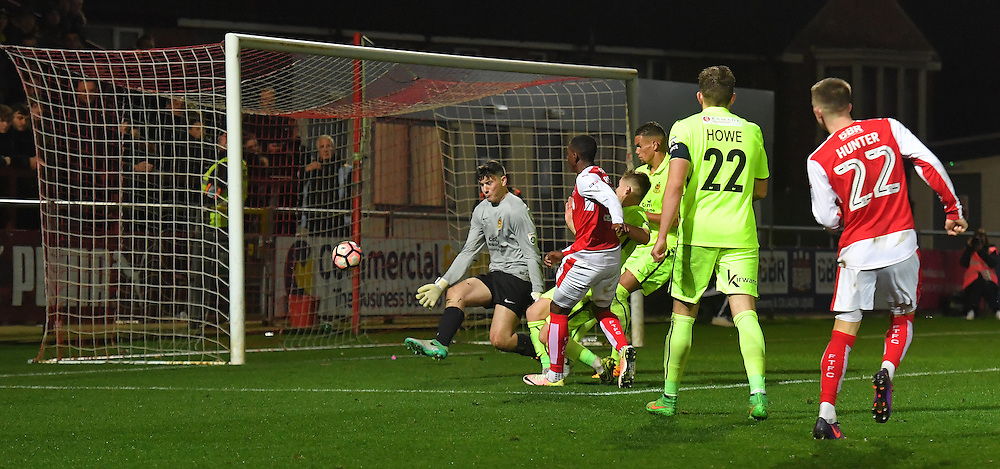 Fleetwood Town's Amari'i Bell scores his sides 4th goal<br /> <br /> Photographer Dave Howarth/CameraSport<br /> <br /> The Emirates FA Cup - First Round Replay - Fleetwood Town v Southport - Tuesday 15th November 2016 - Highbury Stadium - Fleetwood<br />  <br /> World Copyright © 2016 CameraSport. All rights reserved. 43 Linden Ave. Countesthorpe. Leicester. England. LE8 5PG - Tel: +44 (0) 116 277 4147 - admin@camerasport.com - www.camerasport.com