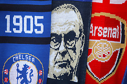 Detail of scarves on sale outside the stadium ahead of the match