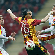 Galatasaray's Servet CETIN (C) during their Turkish Super League soccer match Galatasaray between Kayserispor at the TT Arena at Seyrantepe in Istanbul Turkey on Saturday, 23 April 2011. Photo by TURKPIX