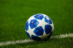 November 6, 2018 - Milan, Italy - UEFA Champions League official ball is seen during the Group B match of the UEFA Champions League between FC Internazionale and FC Barcelona on November 6, 2018 at San Siro Stadium in Milan, Italy. (Credit Image: © Mike Kireev/NurPhoto via ZUMA Press)